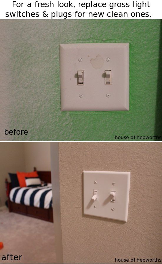 Replace light switches and plug outlets for a big impact with a small price  tag.