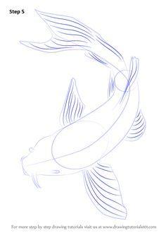 Step by Step How to Draw a Koi Fish : DrawingTutorials101.com