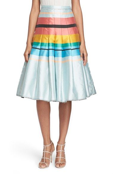 Tracy Reese Pleated Stripe Skirt