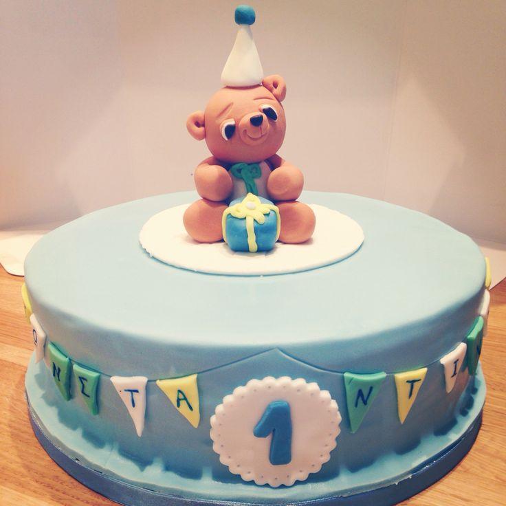 Boy 1st birthday cake - sweet teddybear