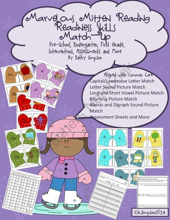 Marvelous Mitten Reading Readiness Skills Match Up Bundle from Sunshine and Lollipops on TeachersNotebook.com -  (65 pages)  - Can be used for preschool, kindergarten or first grade. It can be a literacy center, assessment or intervention. Includes letter recognition, letter sounds, blends, digraphs and rhyming. Common Core