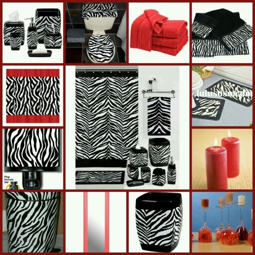 Red zebra bathroom set house decor ideas for Zebra decorations for home