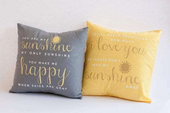 You are my sunshine throw pillow SET of TWO pillows with inserts- one gray one yellow matching set on Etsy, $58.00