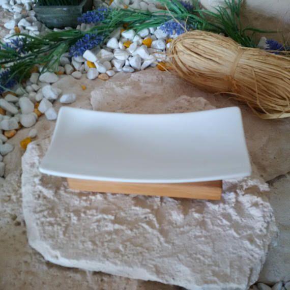 Seifenablage Olivenholz / Porzellan Seifenschale Holz massiv