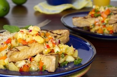 Grilled Tofu with Pineapple Salsa and Coconut Rice — Punchfork