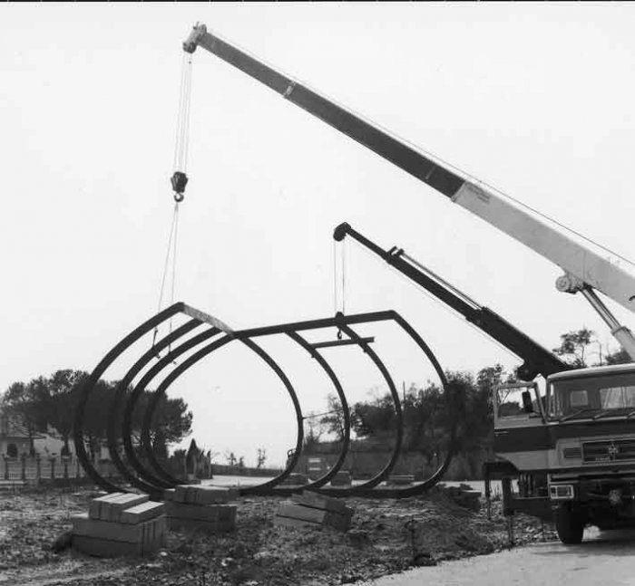 Grande ferro Celle, Alberto Burri, Foto della costruzione