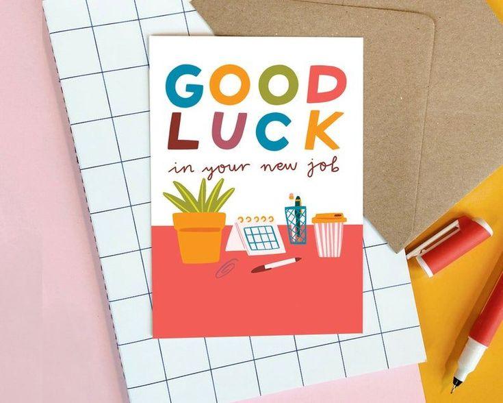 Good luck card new job greeting card blank greeting card