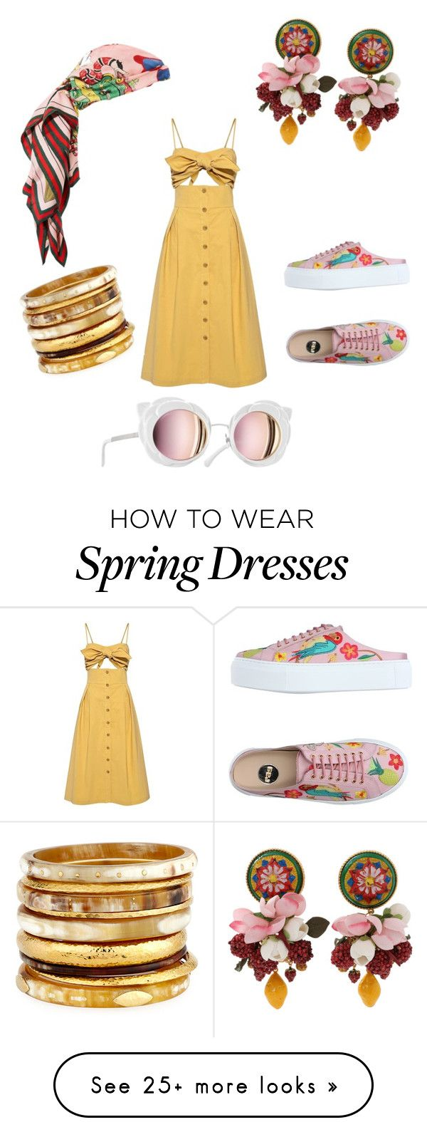"""""""Sneakers & Dress a la Tropicana"""" by mayaevans-i on Polyvore featuring Sea, New York, RAS, Dolce&Gabbana, Ashley Pittman, Chanel and Gucci"""