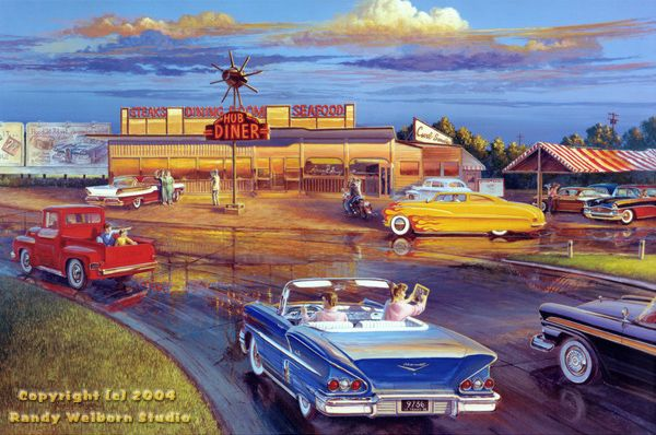 Dragging the Circle (Hub Diner) Find 50s Art, Classic Art and ...1950's theme paintings