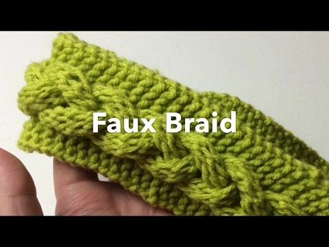 Make a faux braid headband or make longer or wider for a faux braid infinity scarf or cowl. This is quick version of Denice Johnson's pattern with less purls...