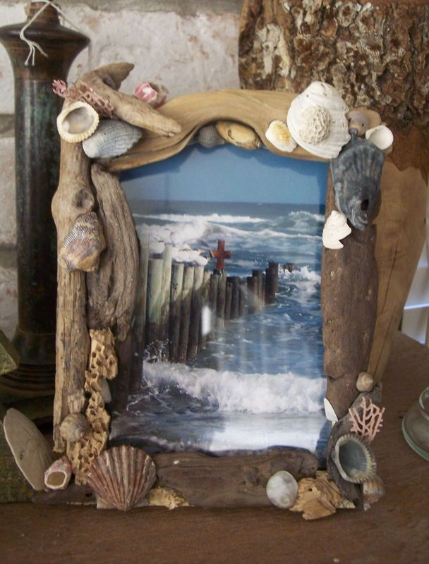 Just delightful!  Coastal Home Decor Driftwood and Sea Shell Picture Frame  I just made this with my grandson :-)
