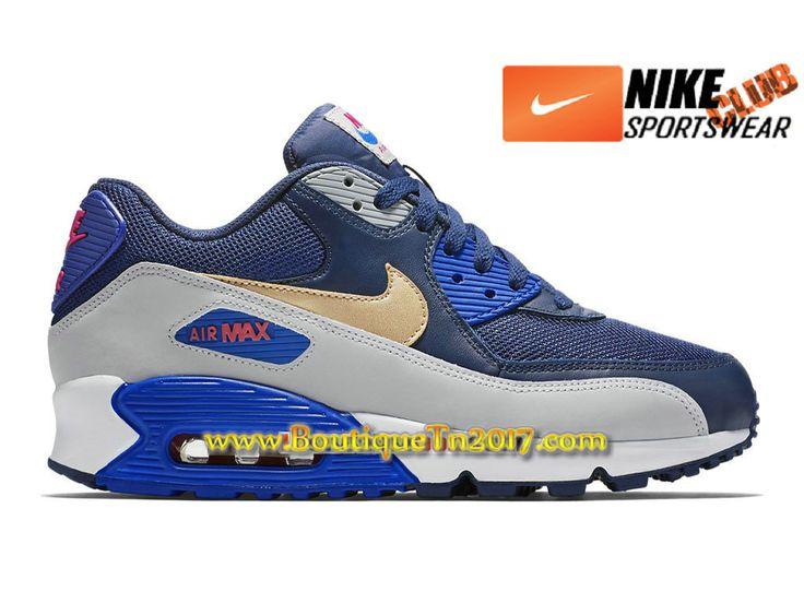 Nike Air Max 90 Essential PS Chaussures Nike Basket Pas Cher Pour Enfant Gris/Bleu 537384-409E