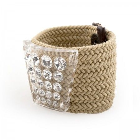 Bangle Bracelet in natural color thread with brown leather stripe sewed and hand hemmed. Transparent plate with glitter rhinestones.