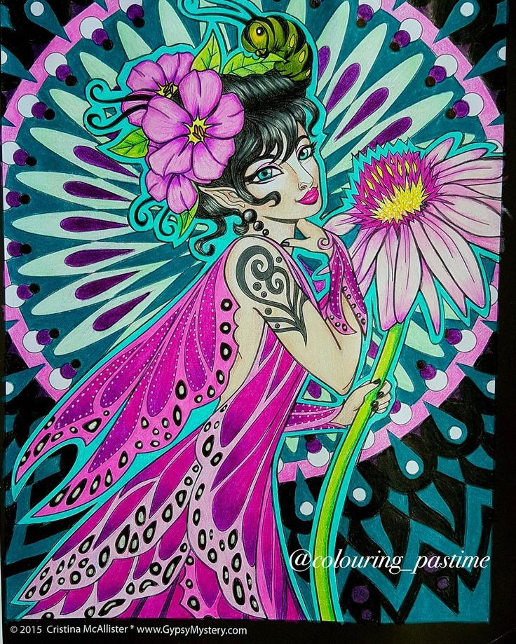 """Social butterfly"" from Cristina McAllister's Spirit women. Coloured with Prisma's and white gel pen #cristinamcallister #spiritwomen #coloringforgrownups #adultcoloring #adultcolouring #coloring #coloringforfun #coloringforadults #coloringbook #prismacolor #coloring_secrets #coloring_masterpieces #bayan_boyan #artecomoterapia #coloredpencil #coloringformindfulness #coloringbookforadults"