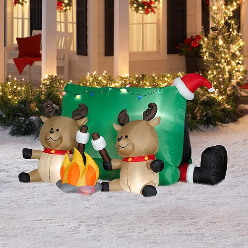 4' Tall x 4.5' Long Airblown Santa with Reindeers Camping Scene Christmas Inflatable