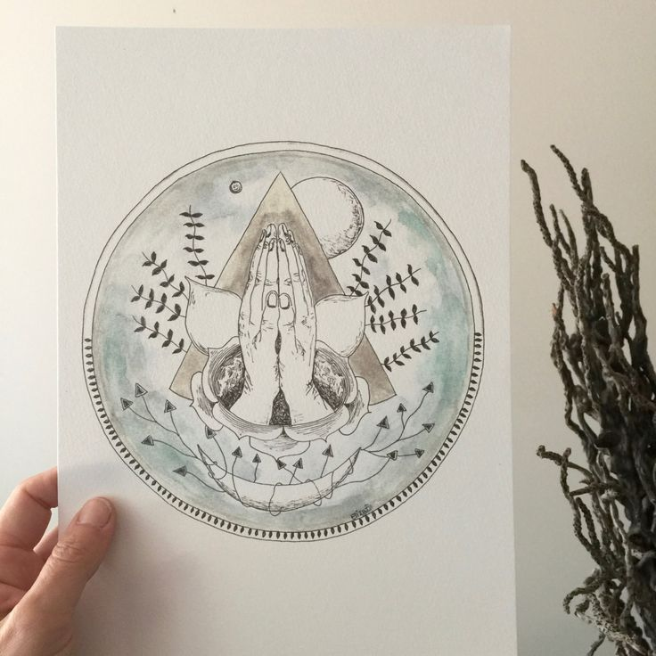 Hands of Many Moons ~ A4 Print From Watercolour Original by TheElfsmialCorner on Etsy