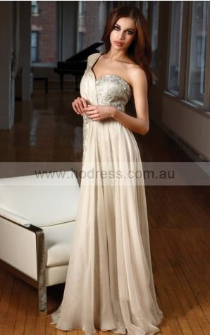 None Floor-length Natural Sheath Chiffon Formal Dresses anba307222--Hodress