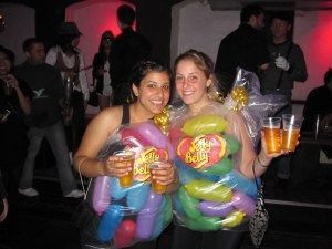 Jelly Bean costume with balloons - use balloon animal balloons and get 4-5 jelly beans from each balloon.