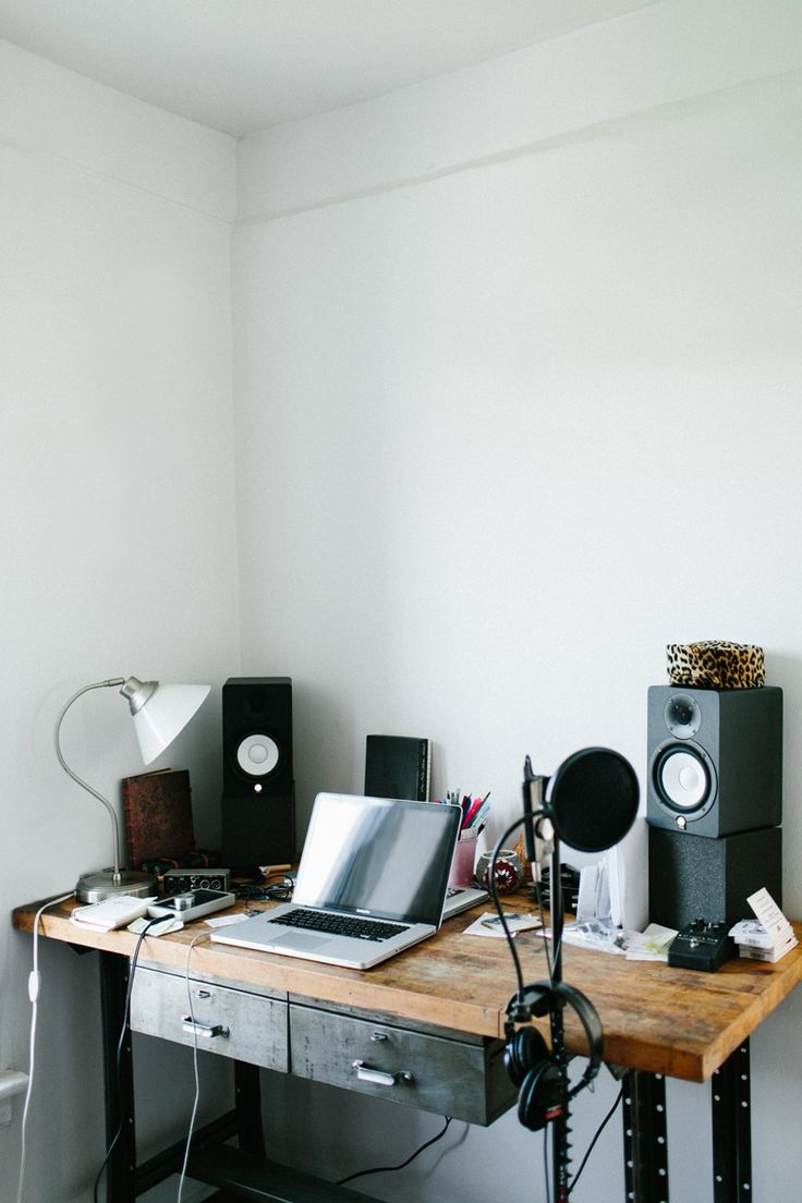 paris-born musician and bassist adeline michèle's recording equipment in her sunny music room at home in the DUMBO neighborhood of brooklyn, new york. #everydaymadewell
