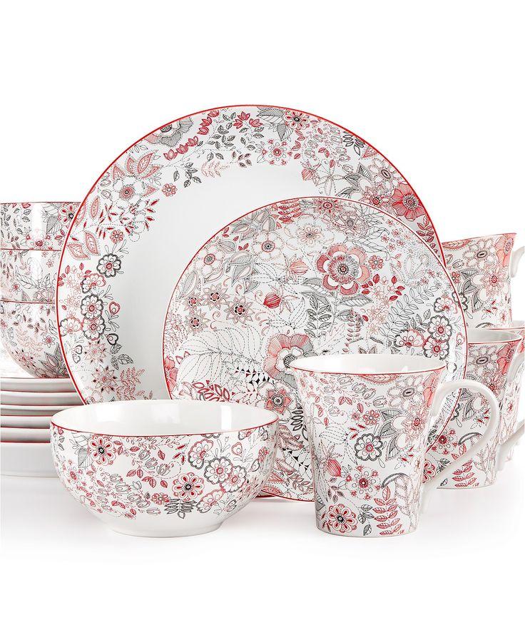 222 Fifth 16-Pc. Evangeline Red Dinnerware Set   macys.com