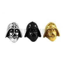 Envío gratis! Darth Vader Helmet anillo de acero inoxidable joyería de plata oro negro Motor Biker de acero del cráneo hombres Armour anillo SWR0102(China (Mainland))