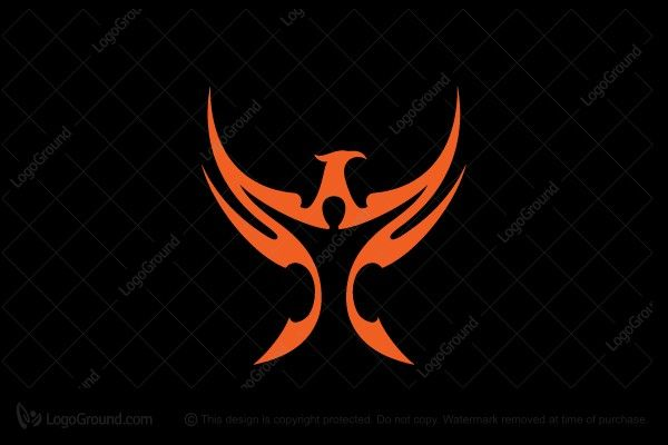 Good Use or Negative Space // Logo for sale: Person Phoenix Logo