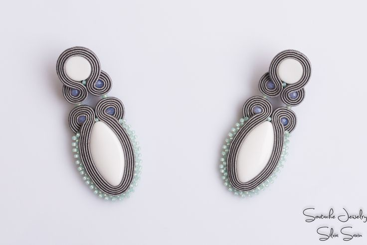 Grey and white soutache earrings with Preciosa beads and Toho