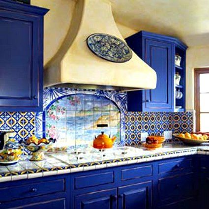 Blue White And Yellow Italian Country Style Kitchen