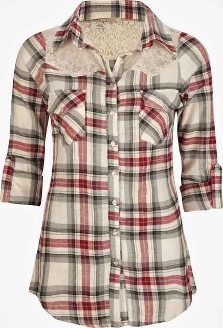 plaid+lace winter shirt