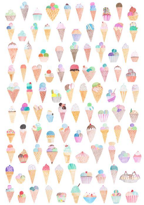 Ice cream: Patterns, Illustrations, 100 Icecream, Ice Ice Baby, Backgrounds, Wallpapers, Prints, Design, Ice Cream Cones
