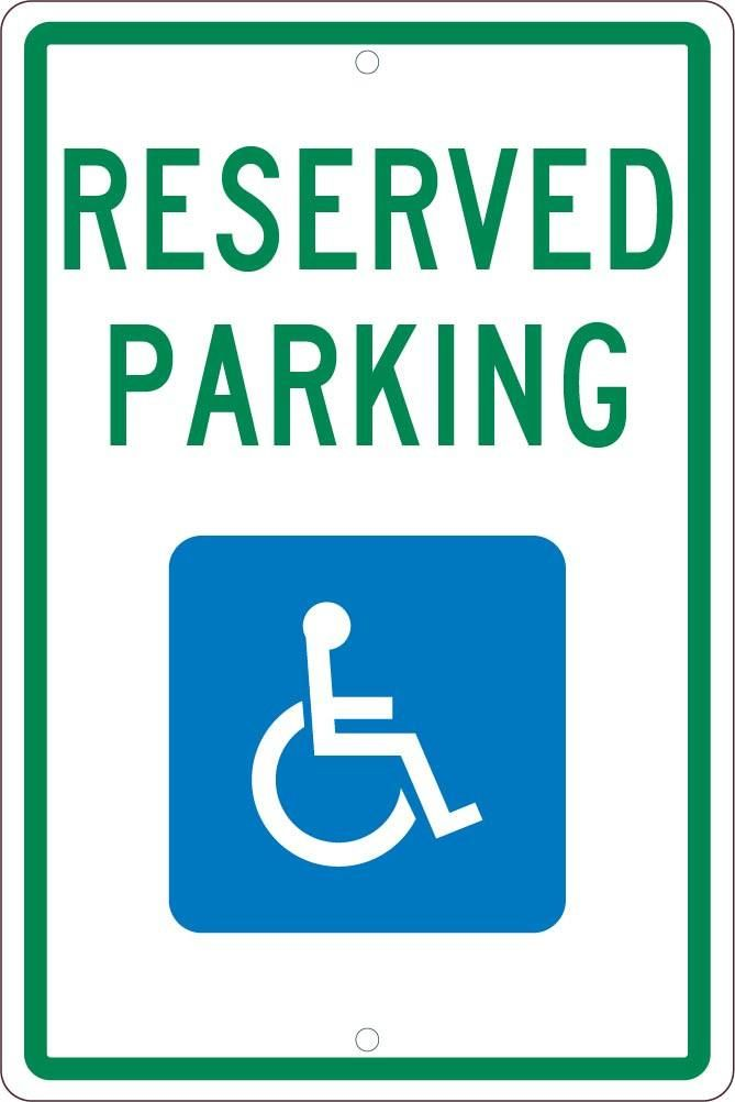 RESERVED PARKING HANDICAPPED,18X12, .063 ALUM SIGN