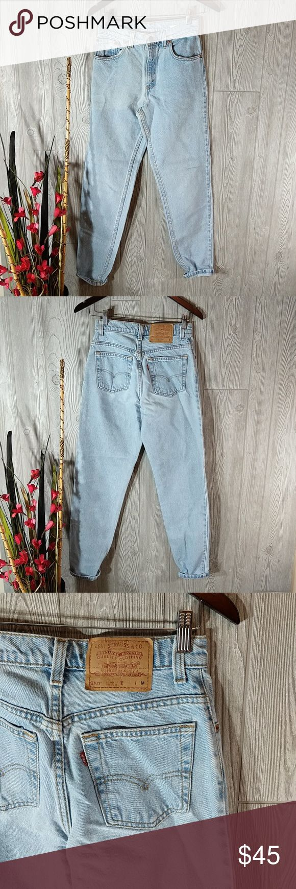 5m Levi 550 mom jeans tapered leg vintage Mint Condition vintage Levi's 550 jeans in size 5 medium. Relaxed fit tapered leg light wash. No. Rip's hole stains or tears. inseam 30 in Levi's Jeans Straight Leg