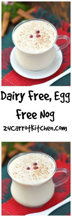 Dairy Free, Egg Free Nog - Super easy! Course: Beverage Servings: 1 Ingredients 1 cup unsweetened almond milk 1/8 cup coconut milk (I use canned full fat) 1 frozen banana (cut in chunks) 1 teaspoon cinnamon (I like Ceylon Cinnamon) 1 teaspoon vanilla extract 1/4 teaspoon nutmeg cloves pinch (optional) 1 tablespoon maple syrup (optional depending on your sweetness level) Splash of rum Instructions Place all ingredients in a blender and blend.