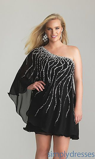 Like this one but, would need to be a bit longer for me.  Short One Shoulder Plus Size Dress