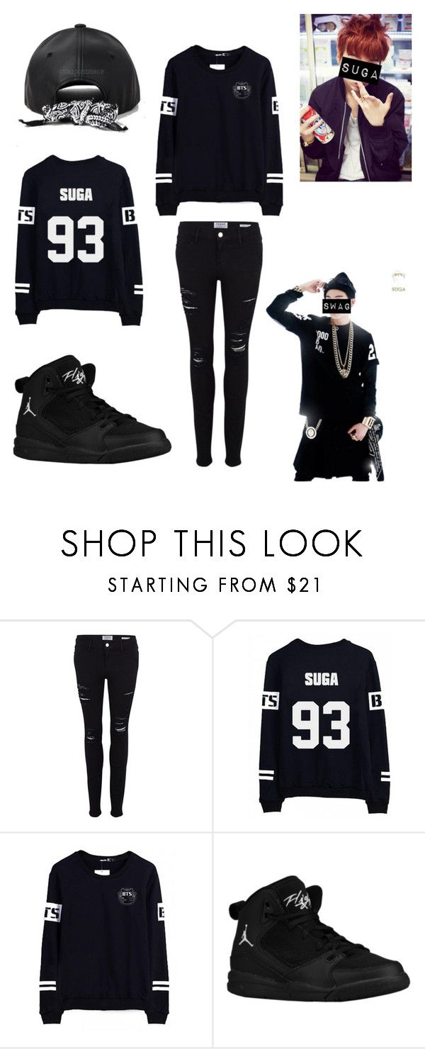 """""""SUGA"""" by itzbrizo ❤ liked on Polyvore featuring Frame Denim, bts, BangtanBoys and Suga"""