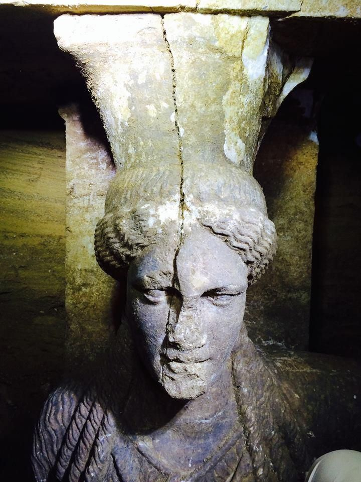 Amphipolis, Macedonia Greece: Close-up of the West Caryatid head - A wonderful view of the West Caryatid head, as it is uncovered.