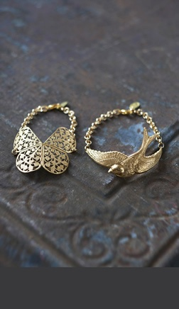 Beautiful gold-plated brass chain bracelets with either a flying swallow or a delicate filigree butterfly.