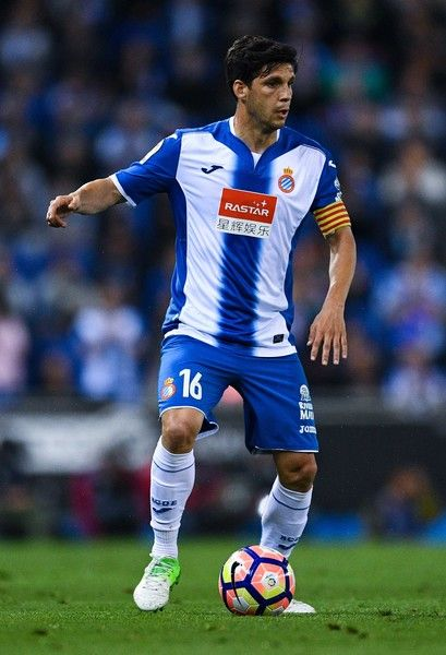 Gerard Moreno of RCD Espanyol runs with the ball during the La Liga match between RCD Espanyol and Club Atletico de Madrid at the Cornella - El Prat stadium on April 22, 2017 in Barcelona, Spain.