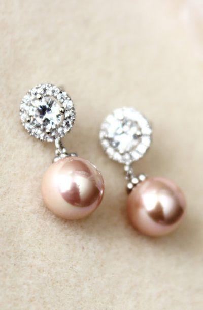 Blush Pink pearl Wedding Jewelry Earrings
