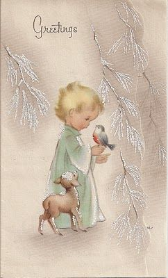 Free Printable Vintage Christmas Card - Child with Bird  ~  HOooow sweet !!