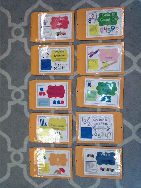 common core math centers based around math manipulatives