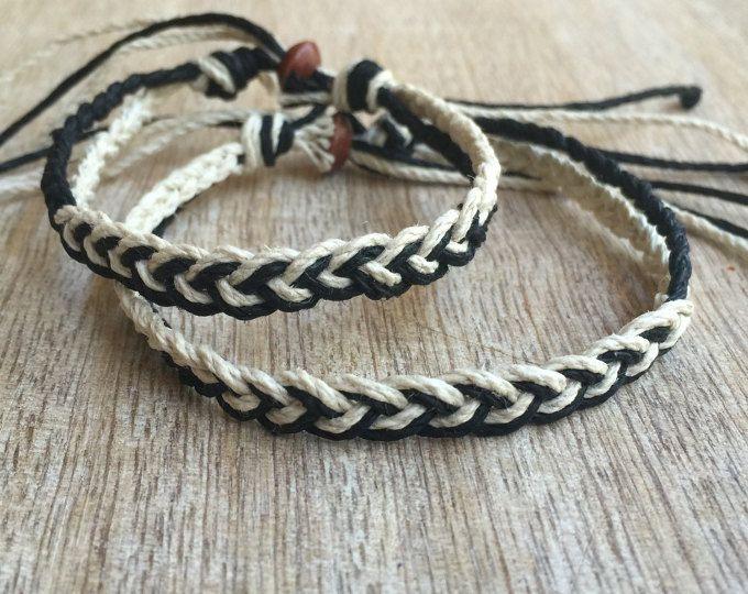 Couples Bracelet Unisex Mens Bracelet Matching Bracelet Couples jewelry Mens Friendship Gift for Him Her 2x Black Leather Cord Bracelet