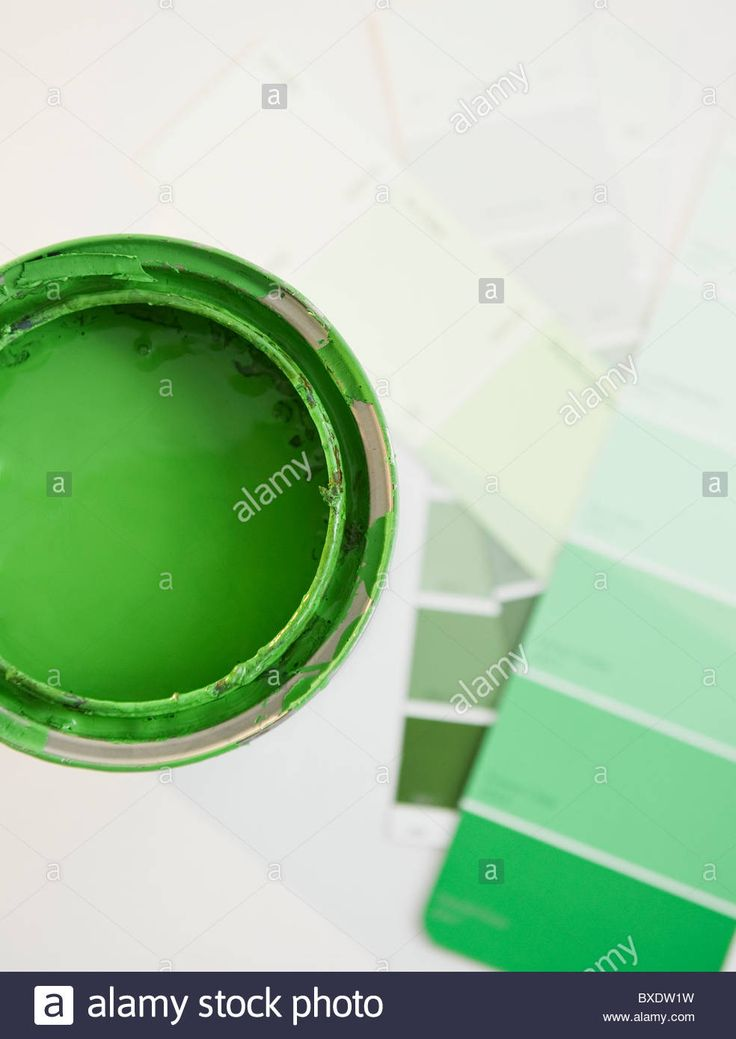 Download this stock image: Green paint and paint swatches - BXDW1W from Alamy's library of millions of high resolution stock photos, illustrations and vectors.