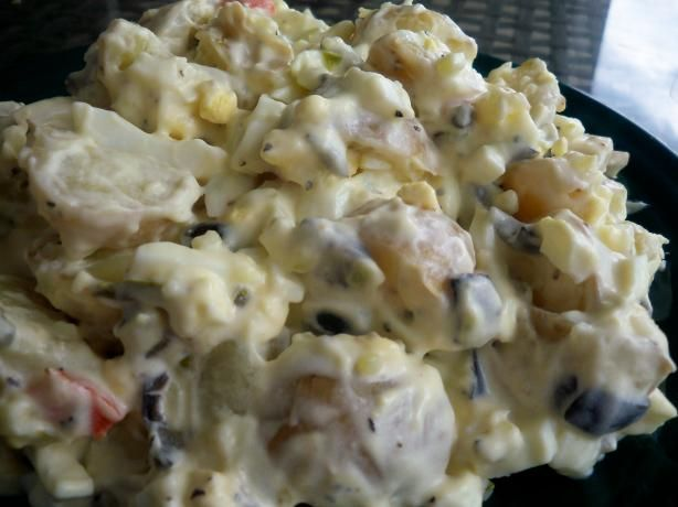 Guamanian Island Potato Salad from Food.com:   								From Guam's Favorite Recipes. I would do a sour relish if I made this but traditionally they like sweet. Posted for ZWT 7.