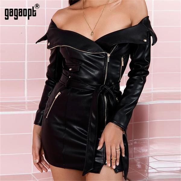 Women's Sexy Off Shoulder Leather Punk Zipper Bodycon Mini Short Club Party Dress