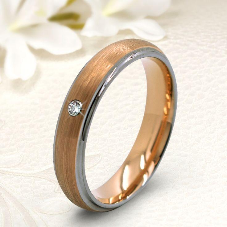 Rozé arannyal bevont szálcsiszolt Női köves tungsten karikagyűrű