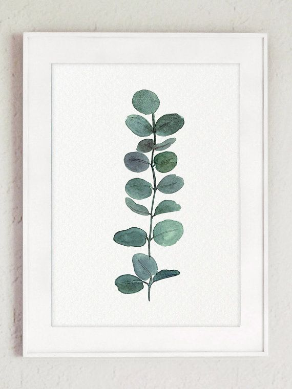 Eucalyptus Branch Watercolor Painting, Set of 2 Green Living Room Eucalyptuses Wall Decoration, Scandi Decor Botanical Poster, Kitchen Print