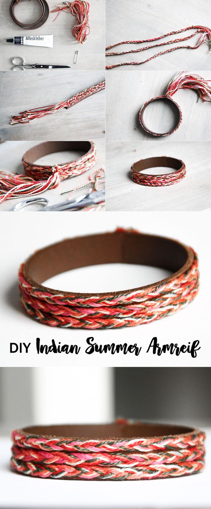 schereleimpapier: DIY Indian Summer Armreif mit Leder | Do it yourself Bangle | Ethno Hippie Boho Schmuck | jewelry | idea | bracelet | tutorial | anleitung | farbe | style fashion | geschenk geschenkidee | knüpfen | Freudnschaftsband | bunt | Sommer Farben |