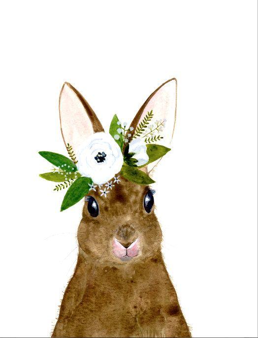 Watercolor rabbit rabbit painting Woodland Nursery door zuhalkanar