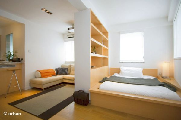 Instead of a simple wall divider you can have a storage unit.   TV unit and bed should be made with the same color wood.
